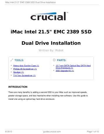 "iMac Intel 21.5"" EMC 2389 SSD Dual Drive Installation"