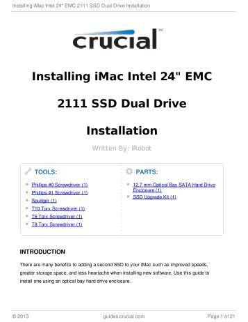 "Installing iMac Intel 24"" EMC 2111 SSD Dual Drive Installation"
