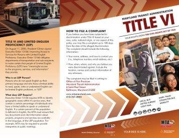 Download MTA Title VI Brochure - Maryland Transit Administration