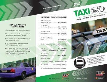 MTA TAXI ACCESS II SERVICE RULES
