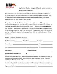 Application for the Maryland Transit Administration's Reduced Fare ...