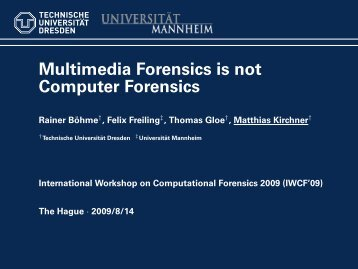 Multimedia Forensics is not Computer Forensics