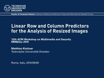 Linear Row and Column Predictors for the Analysis of Resized Images