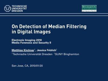 On Detection of Median Filtering in Digital Images