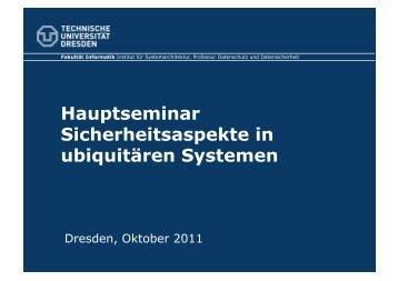Hauptseminar Sicherheitsaspekte in ubiquitären Systemen