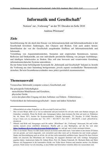 Informatik und Gesellschaft1 - Professur Datenschutz und ...