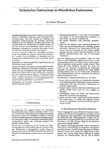 Technischer Datenschutz in öffentlichen Funknetzen - Professur ...