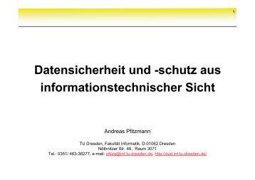 Datensicherheit und -schutz aus informationstechnischer Sicht