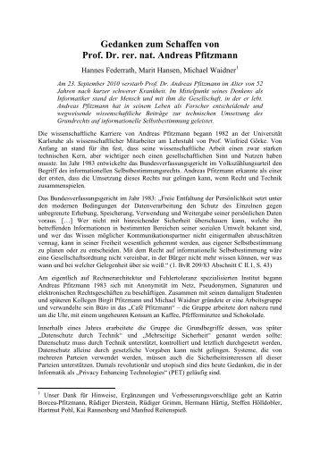 Gedanken zum Schaffen von Prof. Dr. rer. nat. Andreas Pfitzmann