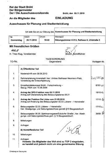 Tagesordnung einschließlich Vorlagen der Sitzung des - Stadt Brühl