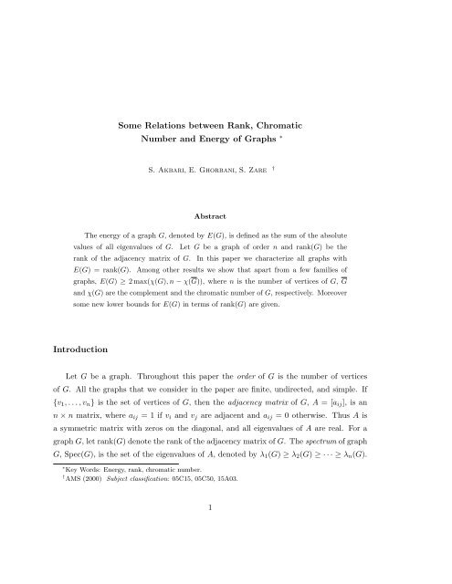Some Relations between Rank, Chromatic Number and ... - IPM