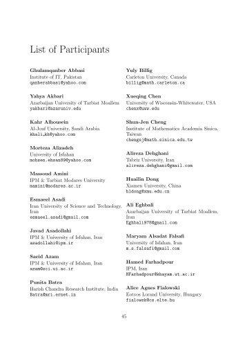 List of Participants - IPM