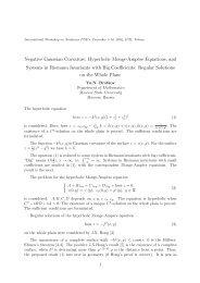Negative Gaussian Curvature, Hyperbolic Monge-Amp`ere ... - IPM