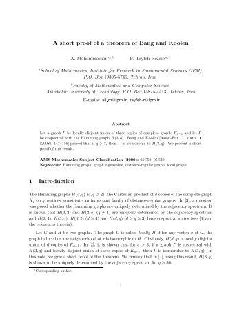 A short proof of a theorem of Bang and Koolen 1 Introduction - IPM
