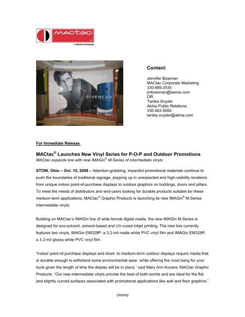 Contact: MACtac® Launches New Vinyl Series for POP and