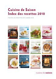 Cuisine de Saison Index des recettes 2010