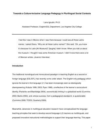 Towards a Culture-Inclusive Language Pedagogy in Plurilingual ...