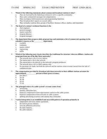TV-ONE SPRING 2012 EXAM 2 PREP/REVIEW PROF. LINDA BEAL