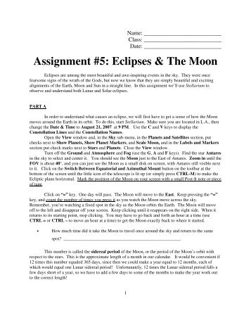 Assignment #5: Eclipses & The Moon - Faculty Web Pages