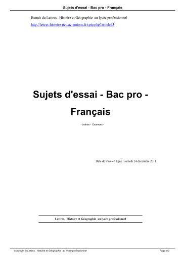 Sujets d'essai - Bac pro - Français - Lettres, Histoire et Géographie ...