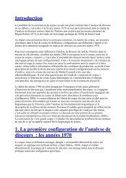 Introduction 1. La première configuration de l'analyse de discours ...