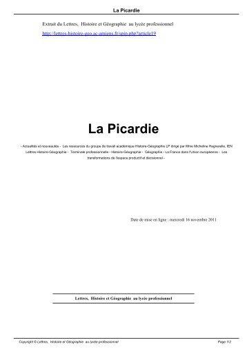 La Picardie - Lettres, Histoire et Géographie au lycée professionnel