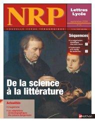 De la science à la littérature - Lettres, Histoire et Géographie au ...