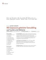 Mit Sojasauce gebeizter Seesaibling auf Gurke und Melone