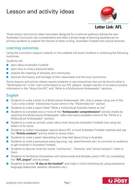 Lesson and activity ideas (pdf, 175 kb) - Australia Post