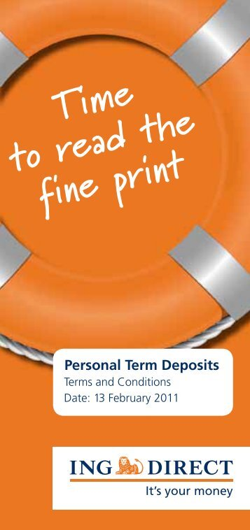 ING - Terms and Conditions - Australia Post