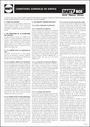 Conditions Générales de Service + Annexe technique - Dartybox