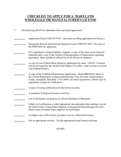 checklist to apply for a maryland wholesale or