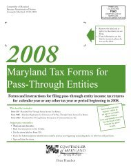 Tax Returns - the Comptroller of Maryland