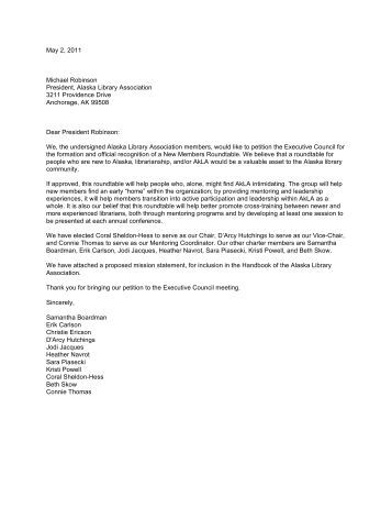 petition letter to e council for roundtable status alaska library