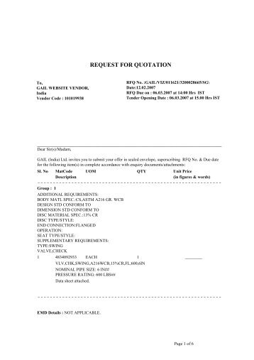 REQUEST FOR QUOTATION - GAIL