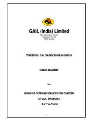 Hiring of catering servicies for canteen at gail, vaghodia for a period ...