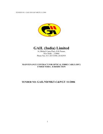 Maintenance contract for optical fibre cable (ofc) - GAIL