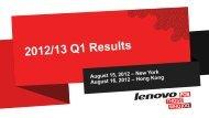 2012/13 Q1 Results Presentation - Lenovo