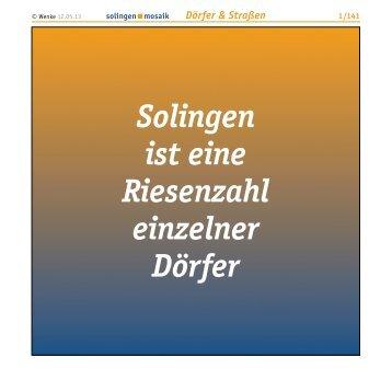Solingen ist eine Riesenzahl einzelner Dörfer - Wenke Mein Solingen