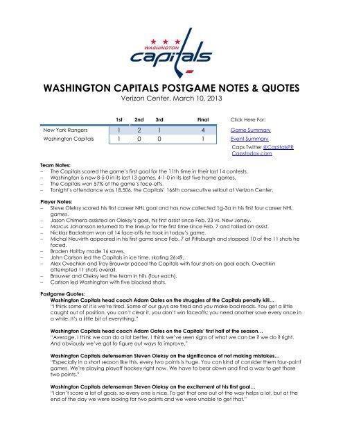 WASHINGTON CAPITALS POSTGAME NOTES   QUOTES 39336620eff