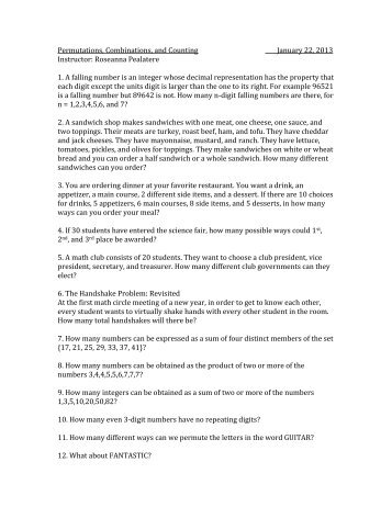 Permutations And Combinations Worksheet Answers - The Best and ...