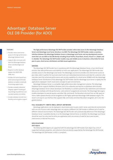 Advantage™ Database Server OLE DB Provider (for     - dFPUG-Portal