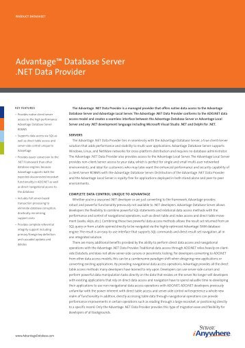 sybase advantages database server In sybase advantage database you can use timestampadd function to add an interval to the datetime value in microsoft sql server you can use dateadd function, but.