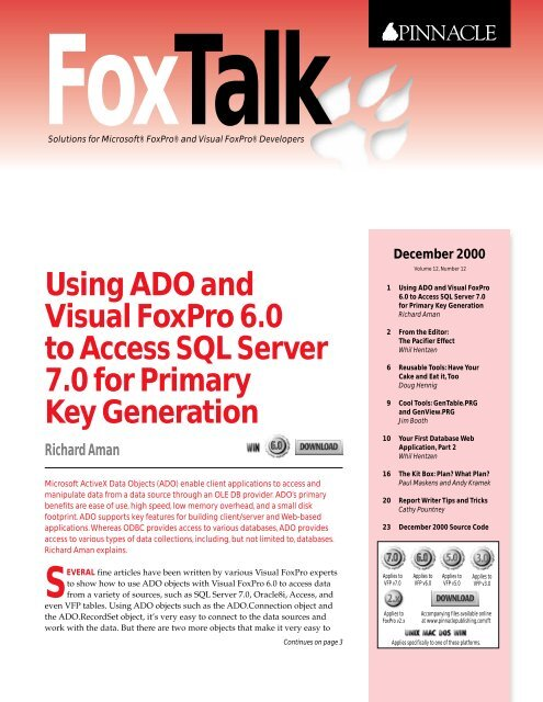 Using ADO and Visual FoxPro 6 0 to Access SQL     - dFPUG-Portal
