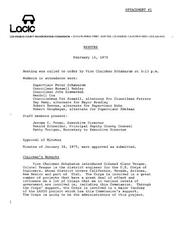 Minutes - February 14, 1979 Meeting - LACTC