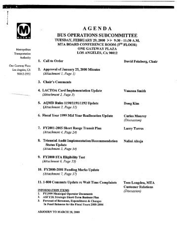 BOS Agenda/Minutes - February 29, 2000 - Metro
