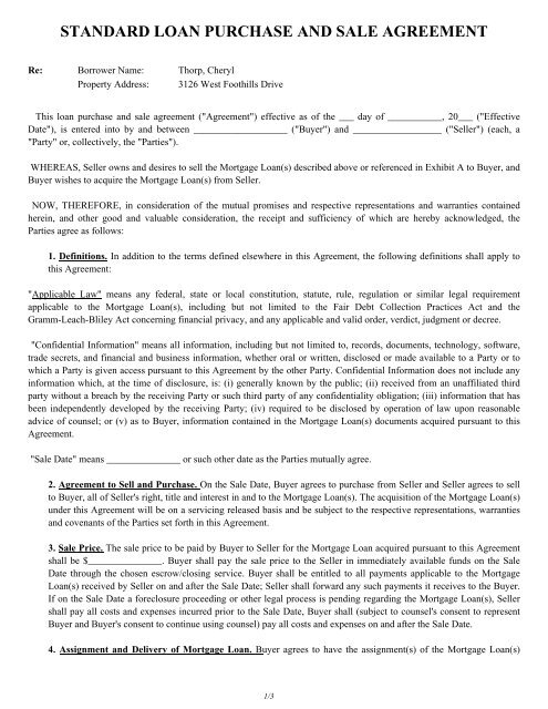 STANDARD LOAN PURCHASE AND SALE AGREEMENT