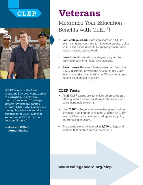 CLEP for Veterans flyer - College Board