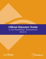 Official Educator Guide to the ReadiStep Assessment - College Board