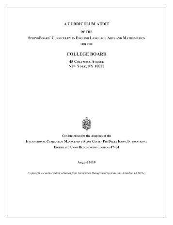 Common core alignment with springboard english college board springboard curriculum audit college board fandeluxe Gallery